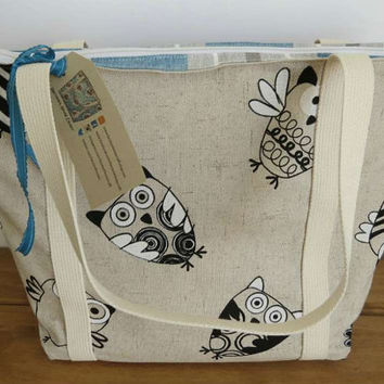 Owl zipper tote bag lined in a blue stripe - ideal knitting, shopping, market or beach bag. Alice zipper tote bag
