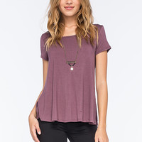 CHLOE K Lace Inset Womens Tee | Knit Tops & Tees