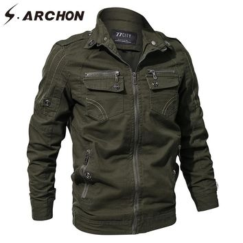 S.ARCHON Spring Autumn Military Pilot Jackets Men US Air Force Tactical Cotton Bomber Jacket Casual Flight Army Outerwear & Coat
