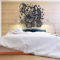 Wall Decor Vinyl Sticker Room Decal Animal Indian Africa Elephant Cute Baby Bedroom Kid Tracery Mehndi (s80)