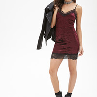 FOREVER 21 Crushed Velveteen Slip Dress Burgundy/Black