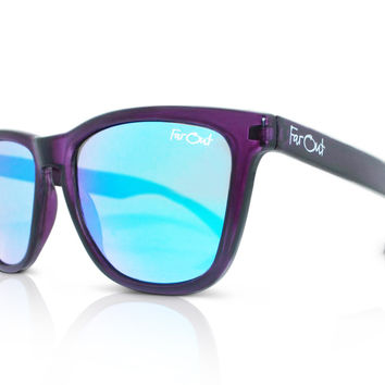 Crystal Dark Purple Wayfarers Light Blue Lens