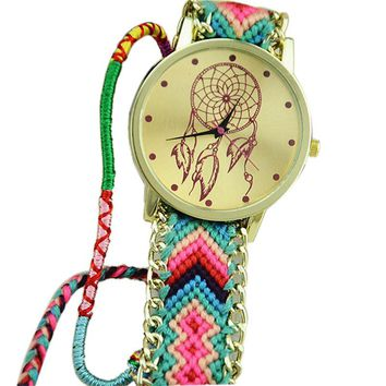 Blue and Pink Dream Catcher Friendship Bracelet Watch