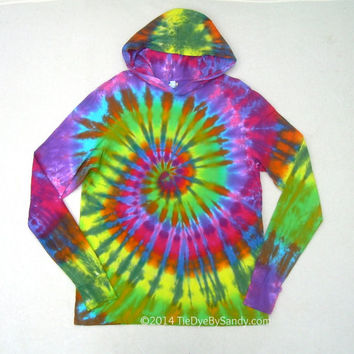 XL Tie Dye Hoodie Contrast Rainbow Spiral Long Sleeve Hooded Tshirt