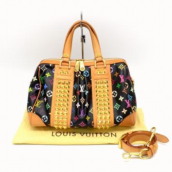 Authentic Louis Vuitton Monogram Multi Color Shoulder Hand Bag Courtney MM Noir