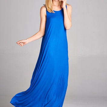 Flowy Tank Style Maxi Dress - Royal