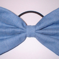 Blue Chambray Cotton Pony Tail Hair Bow Holder Hair Accessory Hair Clip Fabric Hairbow