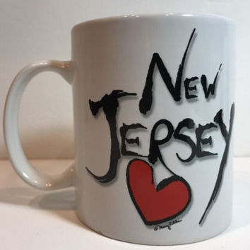 Fifth Ave Manufacturers New Jersey Coffee Mug Love Red Heart Mary Ellis Tea Cup