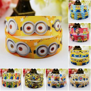 7/8'' (22mm) Ruban Minions Cartoon Character printed Grosgrain Ribbon party decoration satin ribbons OEM 10 Yards