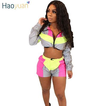 HAOYUAN 2 Two Piece Set Women Summer Clothes Festival Crop Top and Biker Shorts Suit Sexy Club Outfits Tracksuit Matching Sets
