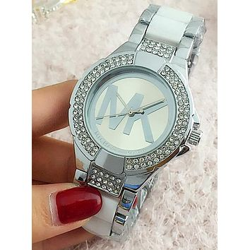 Michael Kors MK Popular Women Men Elegant Big Logo Diamond Ceramic Belt Quartz Movement Watches Wristwatch Silver I-Fushida-8899