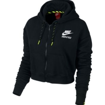 Nike Women's T/F Cropped Graphic Full Zip Hoodie