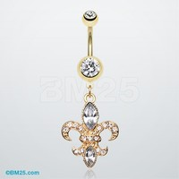 Golden Fleur de Lis Belly Ring