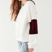 UO Velvet Striped Sleeve Top | Urban Outfitters
