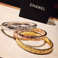 Silver Gold and Rose Gold  Chanel logo high carbon bracelet hand chain in 18K gold plating