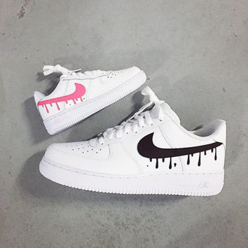 Dripping Swooshes Nike Air Force 1 Lows Custom Men Women Kids