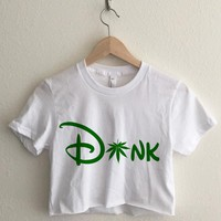 Dank Cartoon Cannabis Typography Short Sleeve Cropped T Shirt