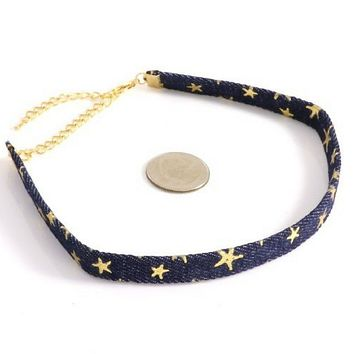 Navy Blue Denim Choker with Gold Stars