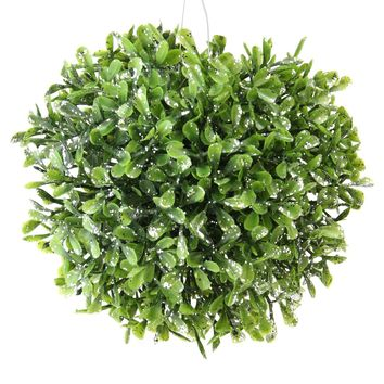 "5"" Sprout Green and Sparkling Silver Glitter Artificial Leafy Garden Grass Ball"