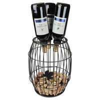 Metrotex Wine Barrel Style Bottle and Cork Holder | www.hayneedle.com