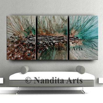 Abstract Painting Modern Wall Art, Turquoise wall Art Paintings on canvas, Fast shipping by Nandita Albright