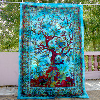 Tree Of Life Tapestry Artistic Decor Wall Hanging, Birds And Floral Printed Bedspreads, Gypsy Hippie Bedding Natural Look Beach Throw Sheet
