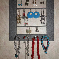 Earring Organizer Stone Finished, Necklace, Bracelet Holder, 3 in 1 Display