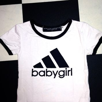 SWEET LORD O'MIGHTY! BABYGIRL RINGER TEE IN WHITE