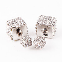 Double-Sided Cube Earrings (Silver)