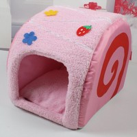Lovely Pet House Dog Kennel Cat Beds Soft Cushion Inside Warm Room 3 Colors Cake Shaped (Strawberry)