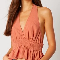 cotton candy la - vneck halter top - terracotta