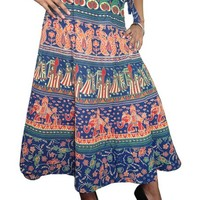 Indian Wrap Around Skirt Peacock Blue Printed Wrapskirt