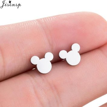 Jisensp Fashion Women Mickey Earrings Cartoon Mouse Stud Earrings Mother's Day Gift Cute Animal Small Earings aretes de mujer