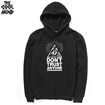 Casual cotton blend do not trust anyone printed thick men Hoodies with hat fleece warm loose men sweatshirts