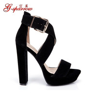 Women's Shoes Platform Pumps Black Beige Pink Blue Suede Leather Heavy-bottomed Thick High Heels Sandals For Women