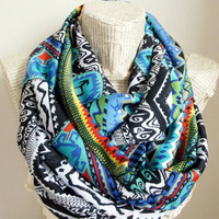 Colorful Tribal Chevron Geometric Infinity Scarf Circle Scarf Siky Chiffon Scarves Spring - Fall - Winter - Summer fashion