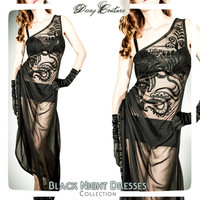 Evening Long BLACK CHIFFON and Jersey see-through DRESS, art-nouveau printed on the front and slit on the right side.