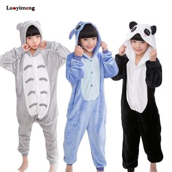 Winter Boys Girsl Panda Pajamas Onesuit Unicorn Children Hooded Sleepers Unisex Flannel Stitch Kids Animal Pyjamas Sleepwear Baby