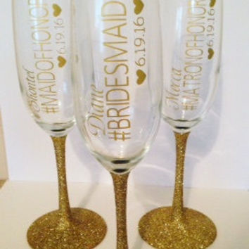 Personalized Bride and Bridesmaid champagne flutes, glitter champagne glasses