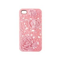 DC New 3d Sculpture Rose Flower for Iphone 4 4s 4g Hard Plastic Cover Case Pink (Light Pink)