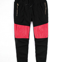 Hip-Hop Zipper Pocket Leather Accent Joggers Pants