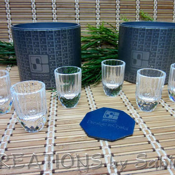 Swarovski Crystal Schnapps Glass Set / Shot Glasses / 2 Sets of 3 / retired rare / 7468 Team / Austria Faceted Vintage / FREE SHIPPING (183)