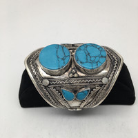 1pc Afghan Turkmen Double Cab Round Blue Turquoise Inlay cuff bracelet , BR04