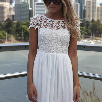 Summer Fun White Short Sleeve Lace Chiffon Floral Dress