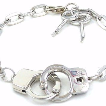 New Silver Tone Handcuff And Keys Link Chain Bracelet M6