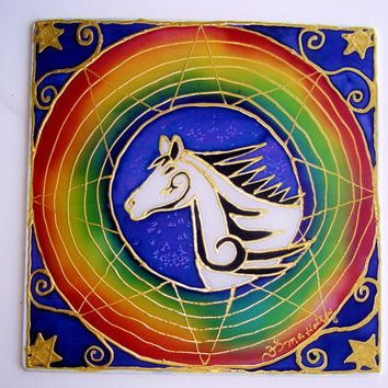 "Animal Guide Mandala ""The Horse"" mandala art, hand painted silk, shamanic art,meditation art, spiritual art, horse art"