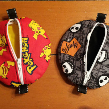 Pacifier Pouch Ear Bud Case Coin Purse Zippered Pouch Pods Nightmare Skellington or Pokémon Pikachu Fabric Print Adorable Pouch Pods
