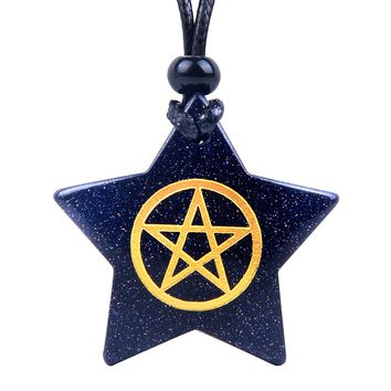 Magical Super Star Pentacle Energy Protection Powers Goldstone Lucky Charm Pendant Adjustable Necklace