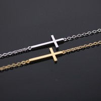sideways cross bracelet in gold by bythecoco on Zibbet