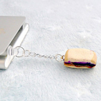 Peanut Butter & Jelly Sandwich Phone Charm, Dust Plug, for iPhone or iPod, cute :D